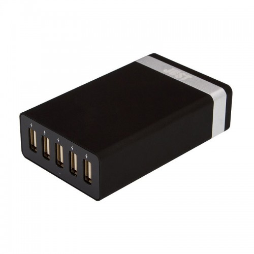 JUST Family Quint USB Wall Charger (8A/40W, 5USB) Black