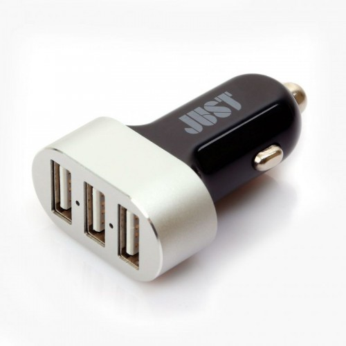JUST Evo Trio USB Car Charger (6.3A/31W, 3USB) Black/Silver